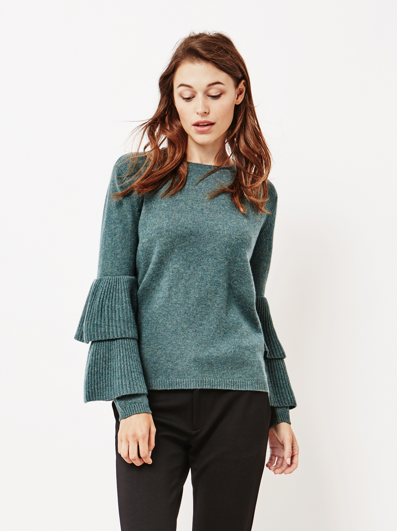 Soft Goat Women's Bell Arm Sweater Forest Green