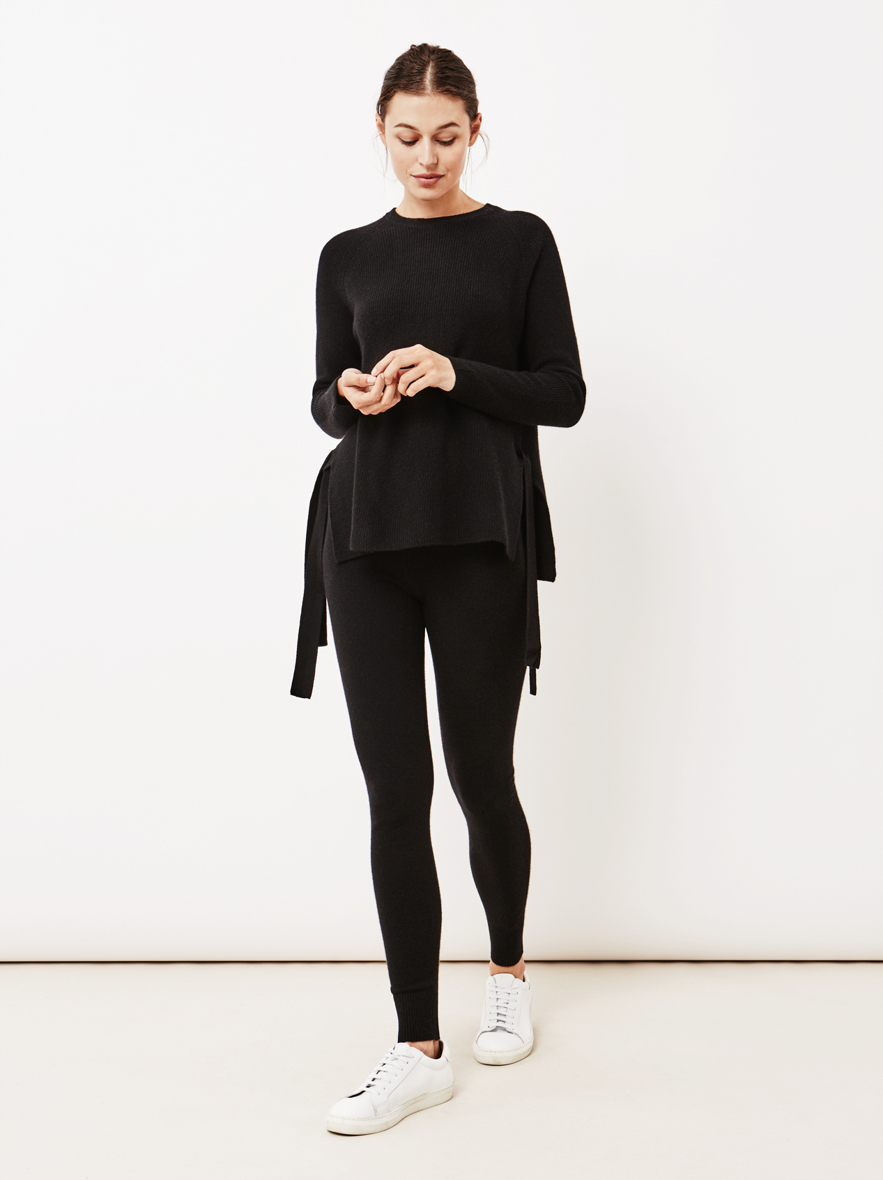 Soft Goat Women's Side Knot Sweater Black