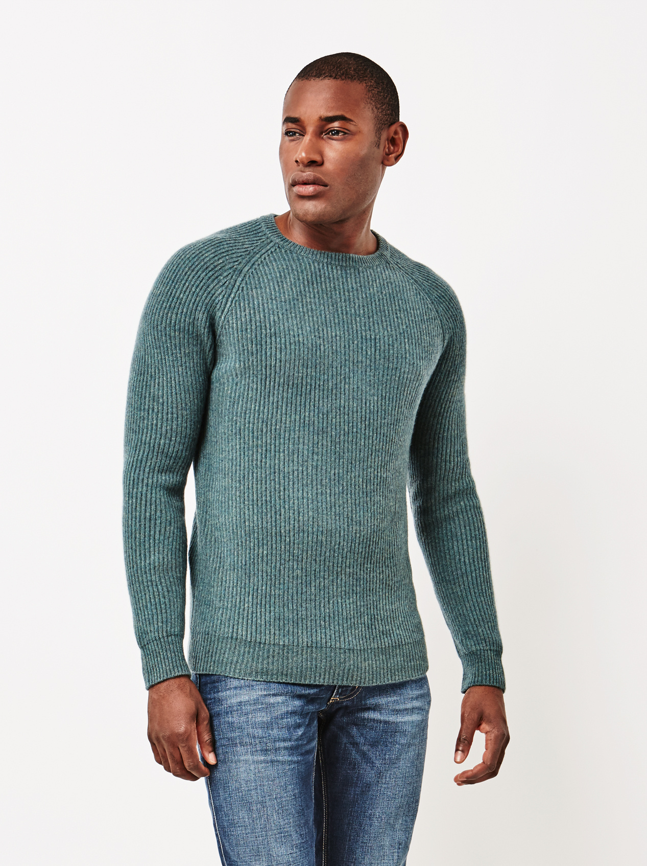 Soft Goat Men's Ribbed Sweater Forest Green
