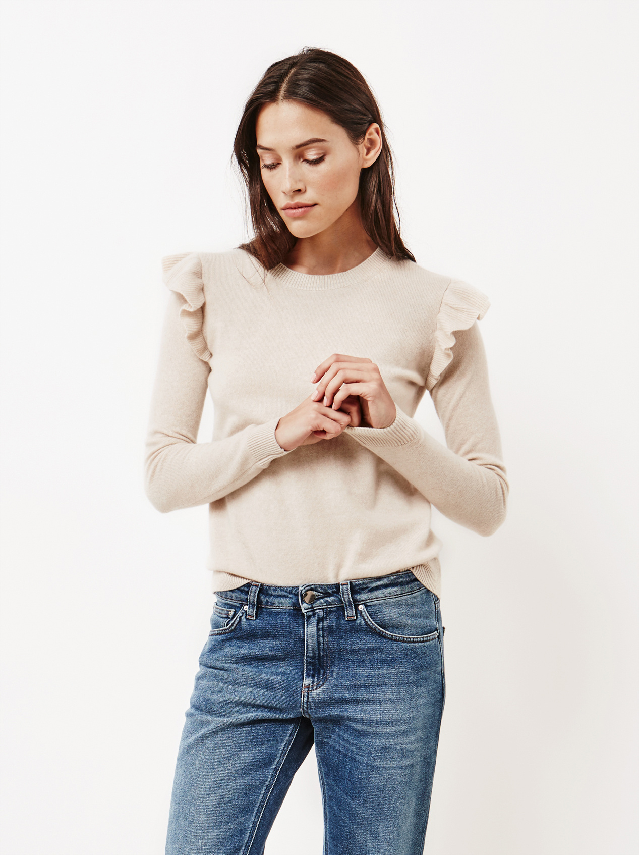 Soft Goat Women's Ruffle Shoulder Sweater Beige
