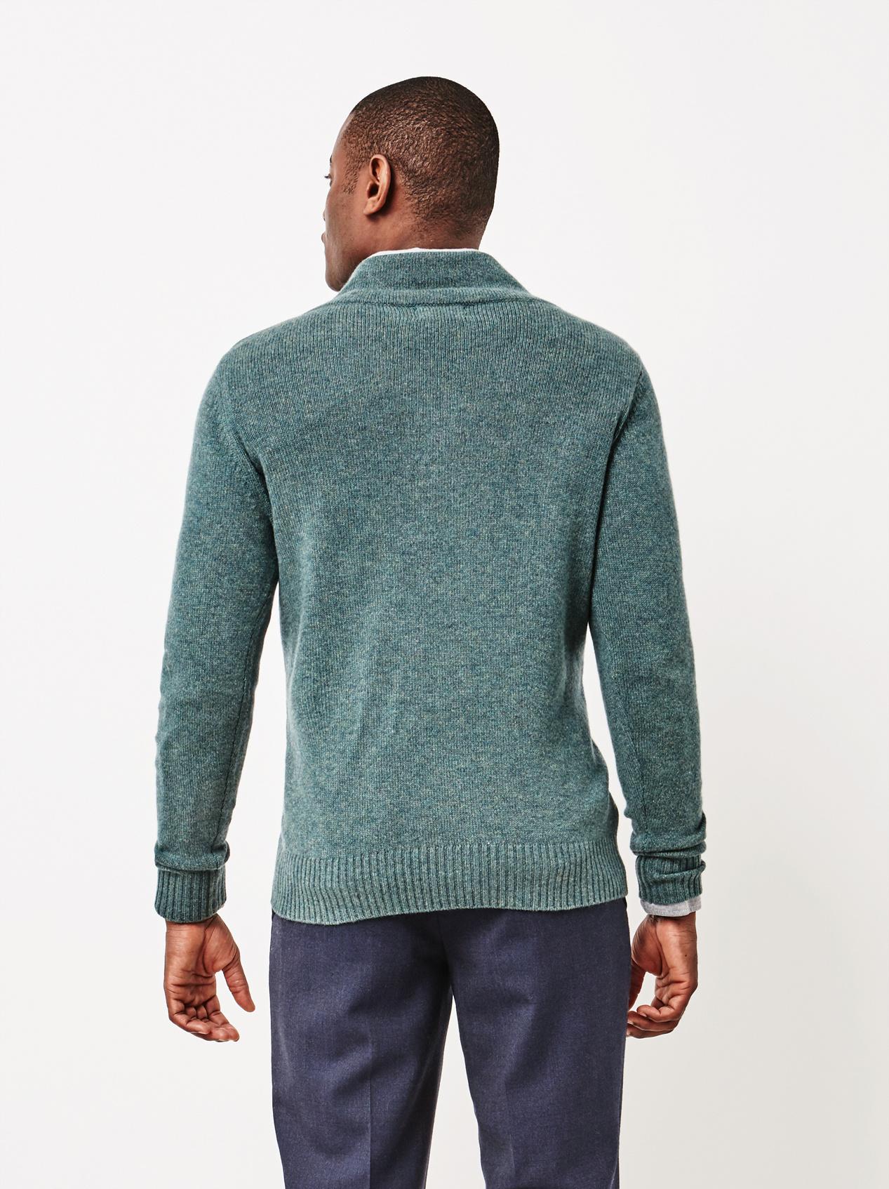 Soft Goat Men's Chunky V-Neck Sweater Forest Green